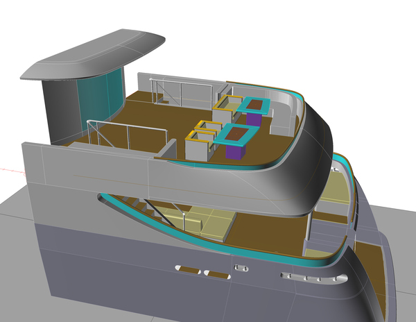 3D drawing with new hull extention and furniture layout